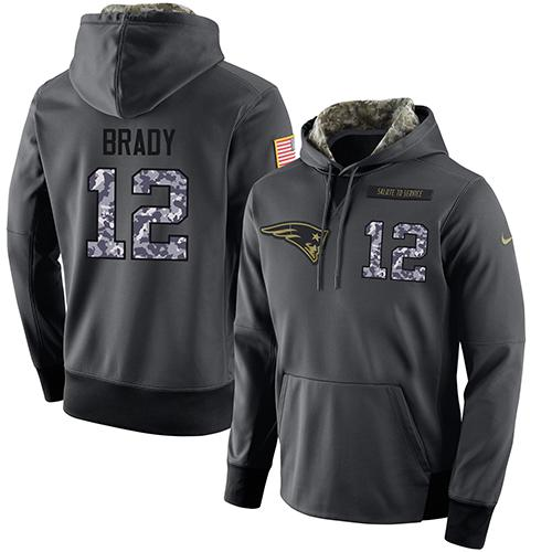 NFL Men's Nike New England Patriots #12 Tom Brady Stitched Black Anthracite Salute to Service Player Performance Hoodie