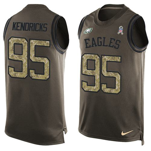 Nike Eagles #95 Mychal Kendricks Green Men's Stitched NFL Limited Salute To Service Tank Top Jersey