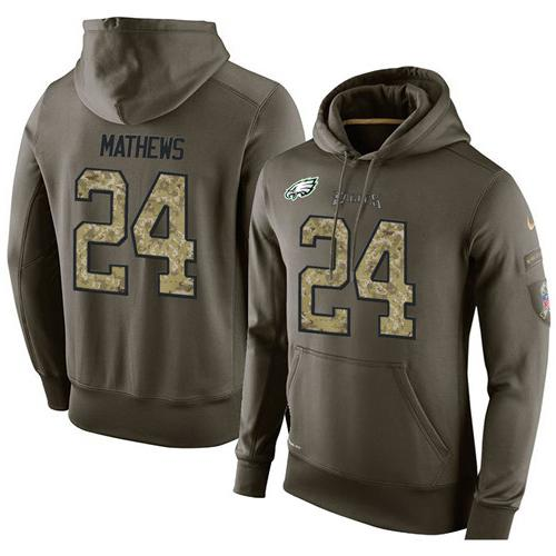 NFL Men's Nike Philadelphia Eagles #24 Ryan Mathews Stitched Green Olive Salute To Service KO Performance Hoodie
