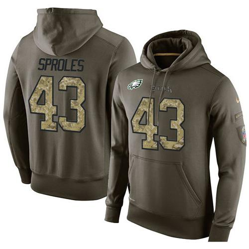 NFL Men's Nike Philadelphia Eagles #43 Darren Sproles Stitched Green Olive Salute To Service KO Performance Hoodie