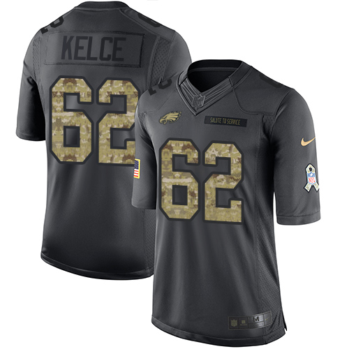 Nike Eagles #62 Jason Kelce Black Men's Stitched NFL Limited 2016 Salute To Service Jersey