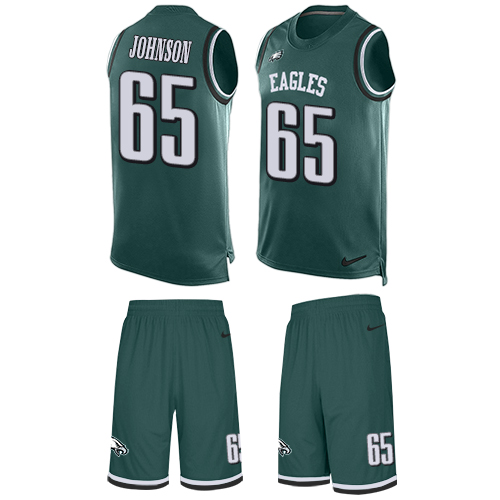 Nike Eagles #65 Lane Johnson Midnight Green Team Color Men's Stitched NFL Limited Tank Top Suit Jersey