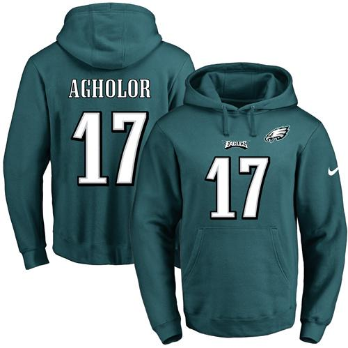Nike Eagles #17 Nelson Agholor Midnight Green Name & Number Pullover NFL Hoodie