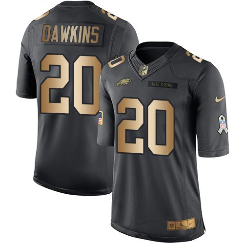 Nike Eagles #20 Brian Dawkins Black Men's Stitched NFL Limited Gold Salute To Service Jersey