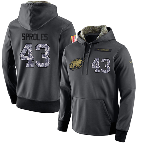 NFL Men's Nike Philadelphia Eagles #43 Darren Sproles Stitched Black Anthracite Salute to Service Player Performance Hoodie