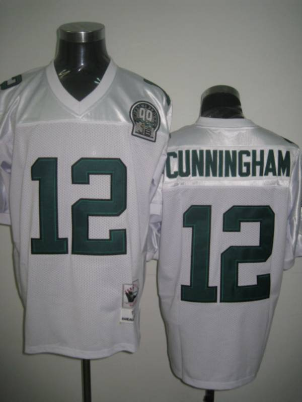 Mitchell&Ness Eagles #12 Randall Cunningham White Stitched Throwback NFL Jersey