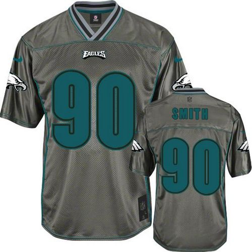 Nike Eagles #90 Marcus Smith Grey Men's Stitched NFL Elite Vapor Jersey