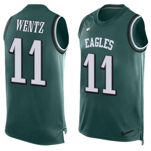 Nike Eagles #11 Carson Wentz Midnight Green Team Color Men's Stitched NFL Limited Tank Top Jersey