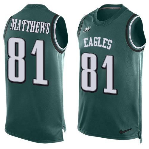 Nike Eagles #81 Jordan Matthews Midnight Green Team Color Men's Stitched NFL Limited Tank Top Jersey