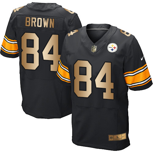 Nike Steelers #84 Antonio Brown Black Team Color Men's Stitched NFL Elite Gold Jersey