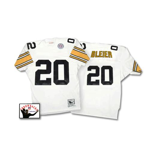 Mitchell & Ness Steelers #20 Rocky Bleier White Stitched Throwback NFL Jersey