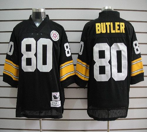 Mitchell And Ness Steelers #80 Jack Butler Black Stitched NFL Jersey