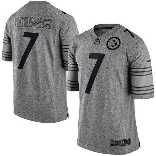 Nike Steelers #7 Ben Roethlisberger Gray Men's Stitched NFL Limited Gridiron Gray Jersey