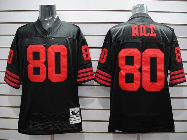 Mitchell and Ness 49ers Jerry Rice #80 Stitched Black NFL Jersey