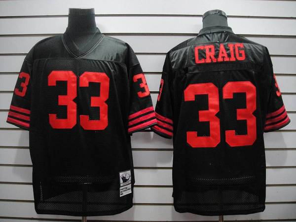 Mitchell and Ness 49ers #33 Roger Craig Black Stitched Throwback NFL Jersey