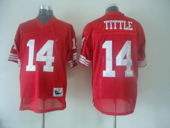 Mitchell and Ness 49ers #14 Y.A. Tittle Red Stitched NFL Jersey