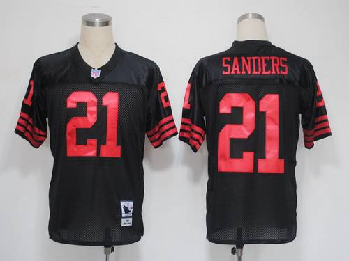 Mitchell and Ness 49ers #21 Deion Sanders Black Stitched NFL Jersey