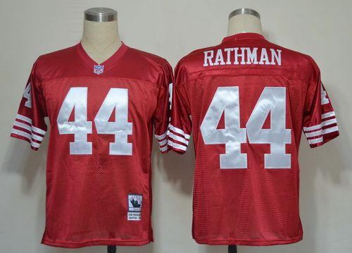 Mitchell And Ness 49ers #44 Tom Rathman Red Stitched Throwback NFL Jersey