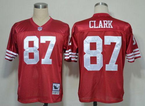 Mitchell And Ness 49ers #87 Dwight Clark Red Stitched Throwback NFL Jersey