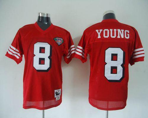 Mitchell And Ness 75TH 49ers #8 Steve Young Red Stitched Throwback NFL Jersey