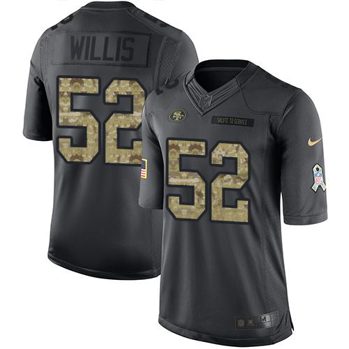 Nike 49ers #52 Patrick Willis Black Men's Stitched NFL Limited 2016 Salute to Service Jersey