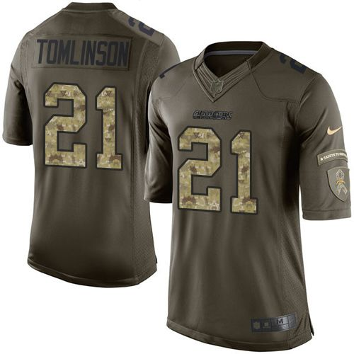 Nike Chargers #21 LaDainian Tomlinson Green Men's Stitched NFL Limited Salute to Service Jersey