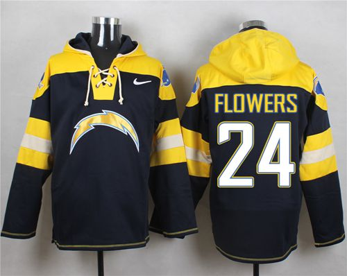 Nike Chargers #24 Brandon Flowers Navy Blue Player Pullover NFL Hoodie