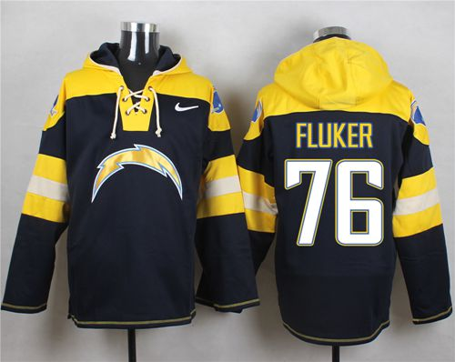Nike Chargers #76 D.J. Fluker Navy Blue Player Pullover NFL Hoodie