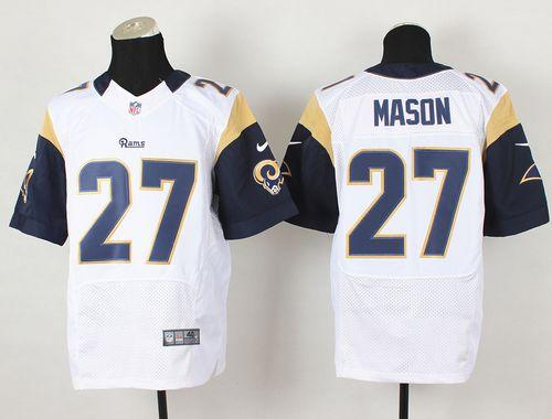 Nike Rams #27 Tre Mason White Men's Stitched NFL Elite Jersey