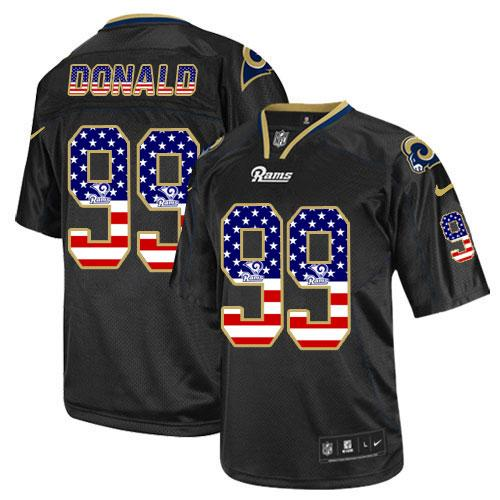 Nike Rams #99 Aaron Donald Black Men's Stitched NFL Elite USA Flag Fashion Jersey