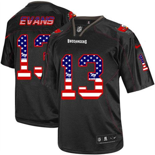 Nike Buccaneers #13 Mike Evans Black Men's Stitched NFL Elite USA Flag Fashion Jersey