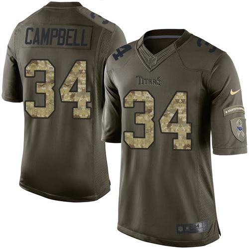 Nike Titans #34 Earl Campbell Green Men's Stitched NFL Limited Salute to Service Jersey