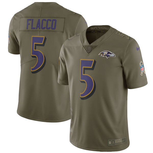 Men's Nike Baltimore Ravens #5 Joe Flacco Olive Salute to Service Limited Stitched NFL Jersey
