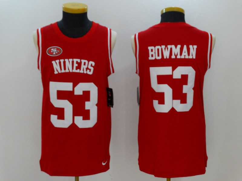 Men's Nike San Francisco 49ers #53 NaVorro Bowman Red Team Color Stitched NFL Limited Tank Top Jersey
