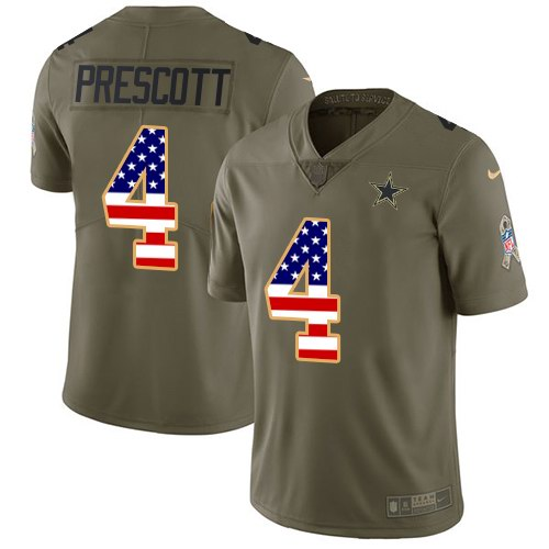 Men's Nike Dallas Cowboys #4 Dak Prescott 2017 Salute to Service Olive USA Flag Stitched NFL Limited Jersey