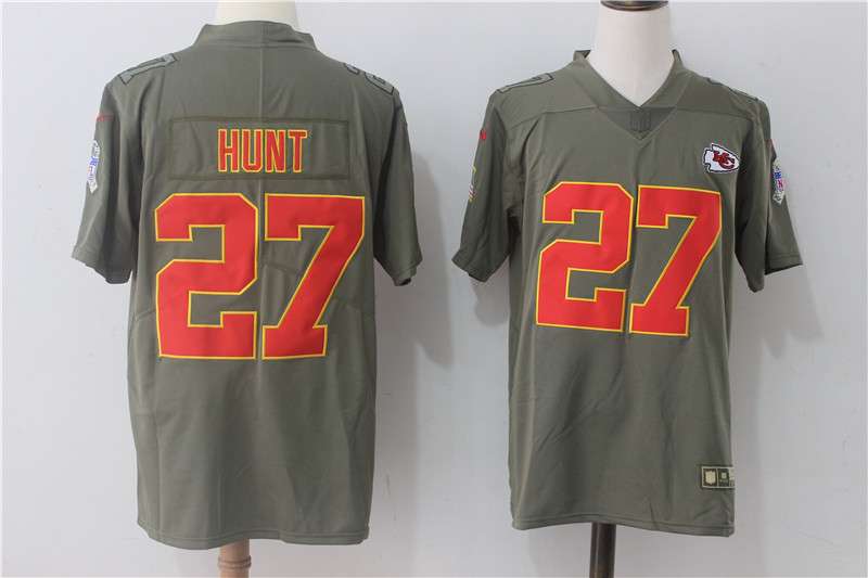 Men's Nike Kansas City Chiefs #27 Kareem Hunt Olive Salute To Service Limited Stitched NFL Jersey