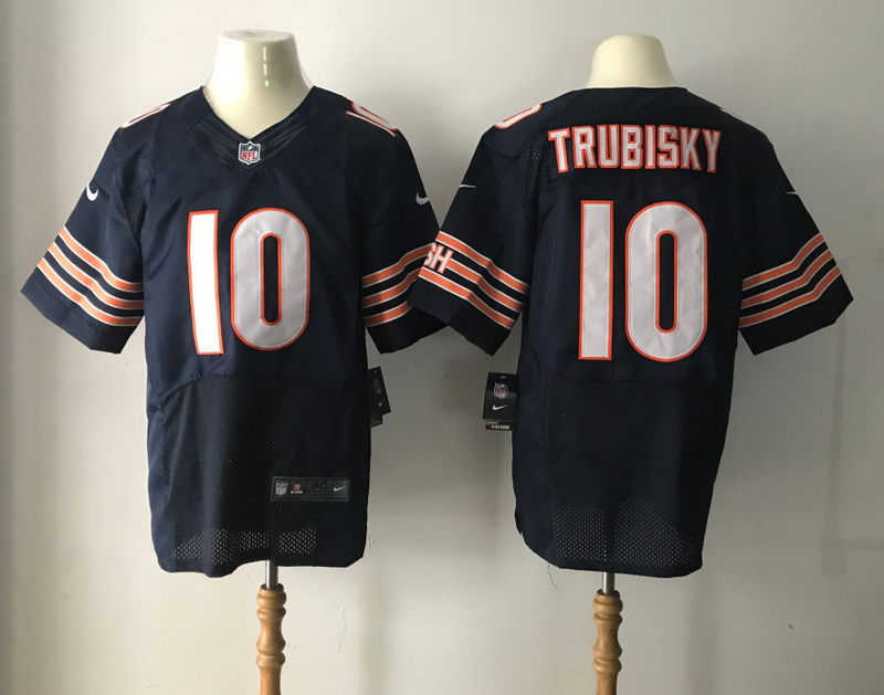 Men's Chicago Bears #10 Mitchell Trubisky Nike Navy 2017 Elite Stitched NFL Jersey