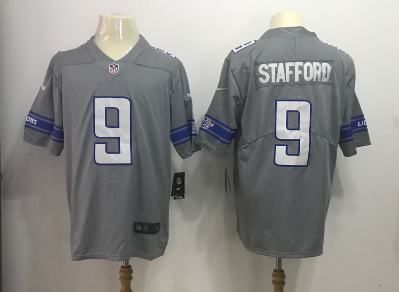 Men's Detroit Lions #9 Matthew Stafford Nike Gray 2017 Color Rush Legend Stitched NFL Jersey