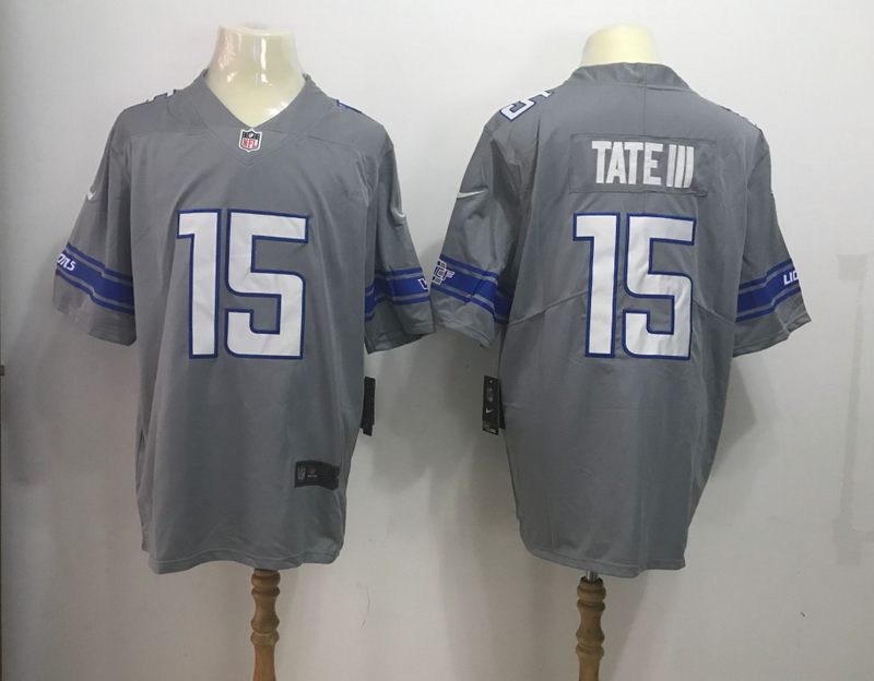 Men's Detroit Lions #15 Golden Tate Nike Gray 2017 Color Rush Legend Stitched MLB Jersey