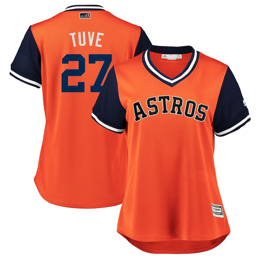 Women's Houston Astros Jose Altuve Tuve Orange Navy 2018 Players Weekend Cool Base Jersey