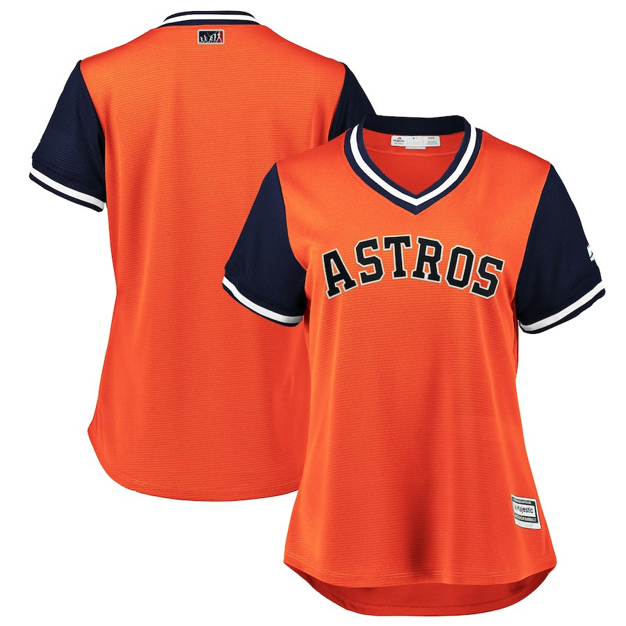 Women's Houston Astros Orange Navy 2018 Players' Weekend Team Jersey