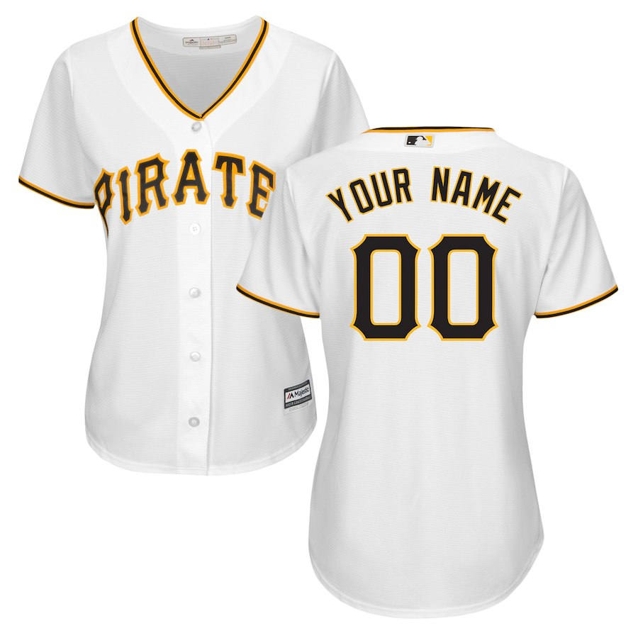 Women's Pittsburgh Pirates White Home Cool Base Custom Jersey