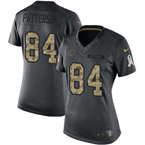 Nike Bears #84 Cordarrelle Patterson Black Women's Stitched NFL Limited 2016 Salute to Service Jersey