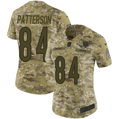 Nike Bears #84 Cordarrelle Patterson Camo Women's Stitched NFL Limited 2018 Salute To Service Jersey