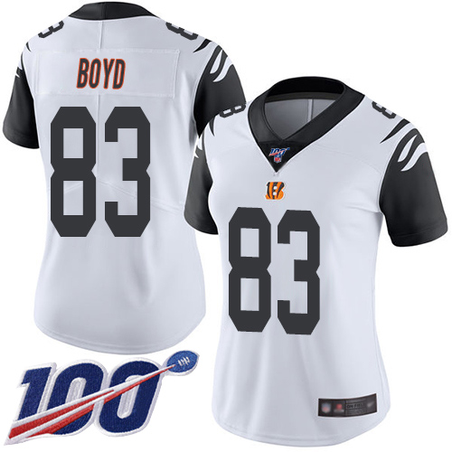 Nike Bengals #83 Tyler Boyd White Women's Stitched NFL Limited Rush 100th Season Jersey