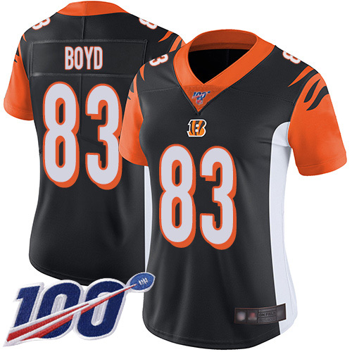 Nike Bengals #83 Tyler Boyd Black Team Color Women's Stitched NFL 100th Season Vapor Limited Jersey