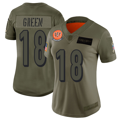 Nike Bengals #18 A.J. Green Camo Women's Stitched NFL Limited 2019 Salute to Service Jersey