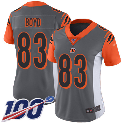 Nike Bengals #83 Tyler Boyd Silver Women's Stitched NFL Limited Inverted Legend 100th Season Jersey