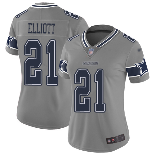 Nike Cowboys #21 Ezekiel Elliott Gray Women's Stitched NFL Limited Inverted Legend Jersey