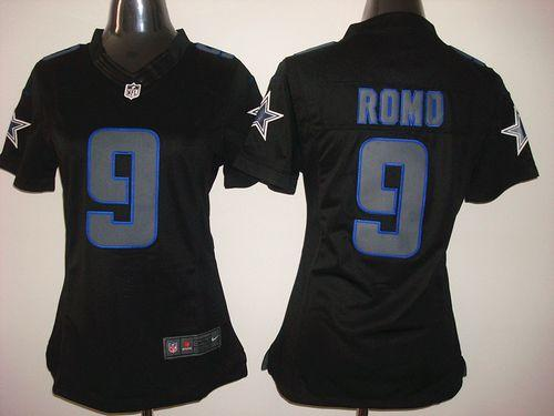 Nike Cowboys #9 Tony Romo Black Impact Women's Stitched NFL Limited Jersey
